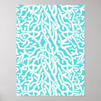Strand-Korallenriff-Muster-weißes Nautischblau Poster