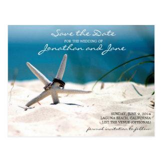 Strand-Ozean schellt die Starfish, die Save the Postkarte
