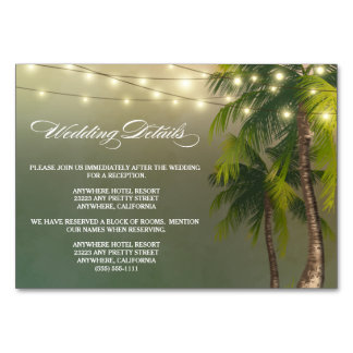 Strand-Palme-Hochzeits-Empfang + Hotel-Karten Karte