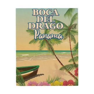 Strand-Reiseplakat Boca Del Drago Panama Holzdruck