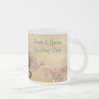 Strand-Sandy-Ufer-Hochzeits-Tasse Matte Glastasse