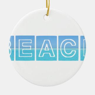 Strand Sillouette Entwurf blau u. schön Rundes Keramik Ornament