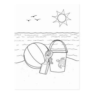 Strand spielt erwachsene Farbton-Postkarte Postkarte