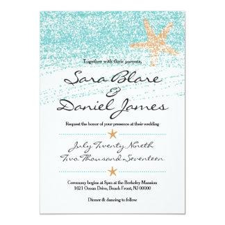 Strand-themenorientierte Hochzeits-Einladung mit Karte