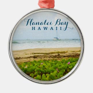 Strand u. Boote Hanalei Bucht-Kauais Hawaii Rundes Silberfarbenes Ornament