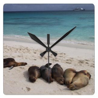Strand-Uhr Quadratische Wanduhr