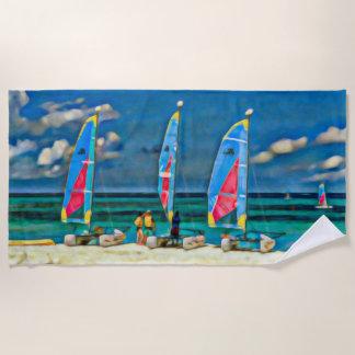 Strand und drei Segel-Boote Strandtuch
