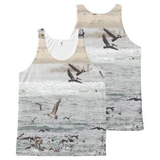 Strand-Vögel, die Pelikan-Kormoran-Möven fischen Komplett Bedrucktes Tanktop