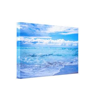 Strand-Wellen-und Wolken-Leinwand-Verpackung Leinwanddruck