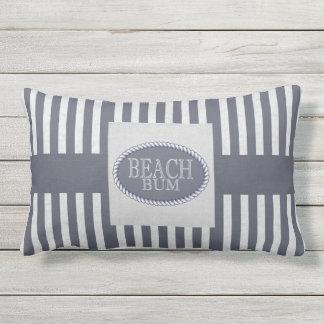 Strand-wertlosmarine-Blau Striped mit Monogramm Kissen Für Draußen