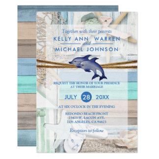 Strandnahe Delphin-Hochzeit Karte