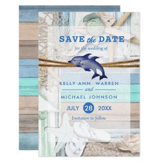 Strandnahe Delphin-Hochzeit - Save the Date Karte