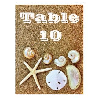 StrandSeashells, die Tischnummer-Karten Wedding Postkarte