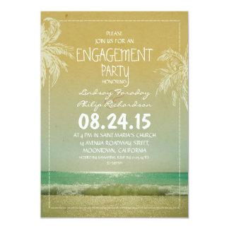 Strandseewellen- u. -palmen-Verlobungs-Party laden 12,7 X 17,8 Cm Einladungskarte