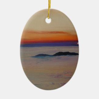Strang-MIT Sonnenuntergang Ovales Keramik Ornament
