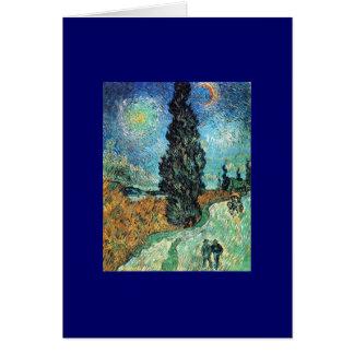Straße mit Zypresse und Stern Karte