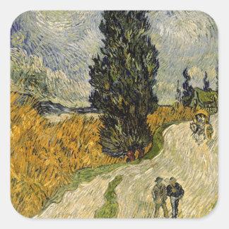 Straße Vincent van Goghs   mit Zypressen, 1890 Quadratischer Aufkleber