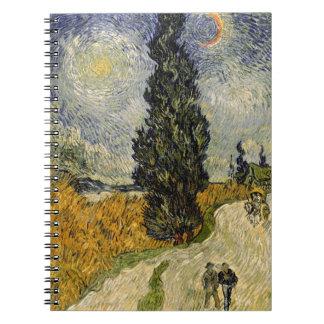 Straße Vincent van Goghs   mit Zypressen, 1890 Spiral Notizblock