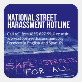 Straßen-Belästigungs-Hotlines-Aufkleber 2 Quadratischer Aufkleber
