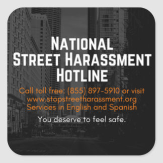 Straßen-Belästigungs-Hotlines-Aufkleber Quadratischer Aufkleber