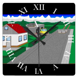 Straßen und Hausbau Quadratische Wanduhr