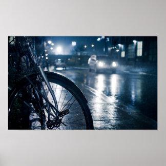 Straßenwand-Druckplakat des Fahrrades regnerisches Poster