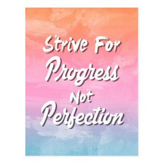 Streben Sie Fortschritts-nicht Perfektion - Zitat Postkarte