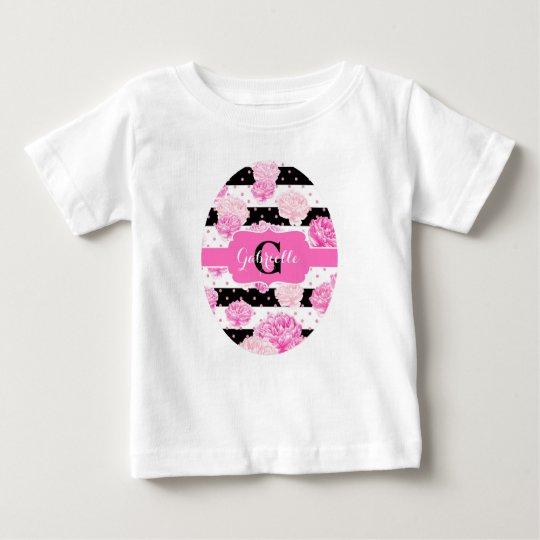 Streifen-rosa Aquarell-Pfingstrosen-Baby-Monogramm Baby T-shirt