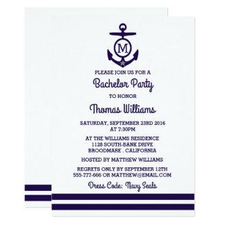 Streifen u. Monogramm-Anker-Seejunggeselle-Party 12,7 X 17,8 Cm Einladungskarte