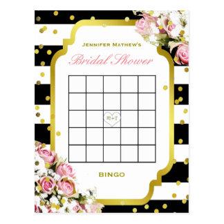 Streifen und Rosen des Brautparty-Bingo-  Postkarten