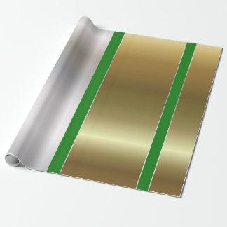 Streifen-vertikales grünes silbernes geschenkpapier