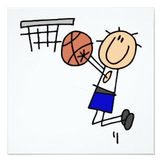 Strichmännchen-Basketball-Wanne T-shirs und Quadratische 13,3 Cm Einladungskarte