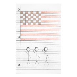 Strichmännchen begrüßen amerikanische Flagge auf Briefpapier