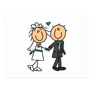 Strichmännchen-Braut und Bräutigam-T - Shirts und Postkarten