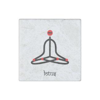 Strichmännchen der Lotosyoga-Pose mit Sanskrit Stein-Magnet