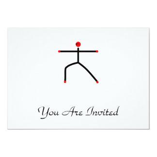 Strichmännchen der Yogahaltung des Kriegers 2 12,7 X 17,8 Cm Einladungskarte