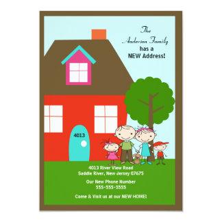 Strichmännchen-Familie mit dog~ beweglicher 12,7 X 17,8 Cm Einladungskarte