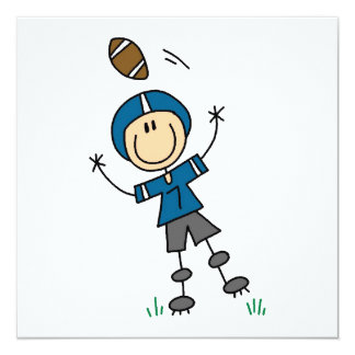 Strichmännchen-Fußball-Blau Quadratische 13,3 Cm Einladungskarte