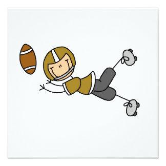 Strichmännchen-Fußball-Gold Quadratische 13,3 Cm Einladungskarte