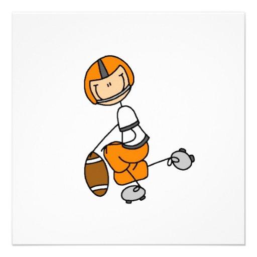 Strichmännchen-Fußball-Orange Personalisierte Einladungskarte