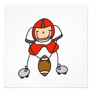 Strichmännchen-Fußball-Rot Individuelle Einladungen