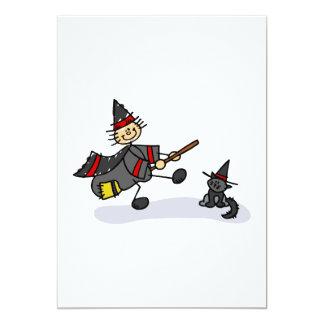 Strichmännchen-Hexe mit niedlicher Katze 12,7 X 17,8 Cm Einladungskarte