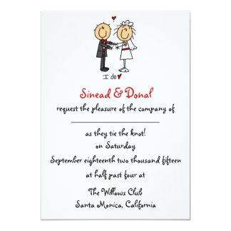 Strichmännchen-Hochzeits-Einladung 12,7 X 17,8 Cm Einladungskarte