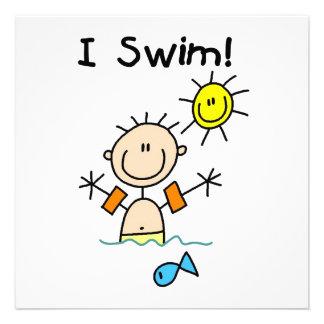 Strichmännchen-Junge, den ich schwimme Ankündigungskarten