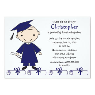 Strichmännchen-Jungen-Abschluss-Einladung 12,7 X 17,8 Cm Einladungskarte