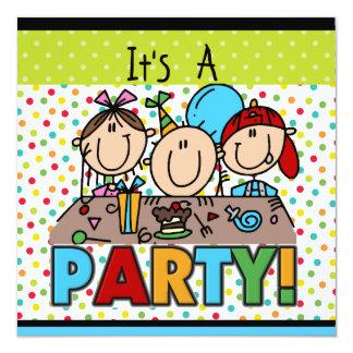 Strichmännchen-Kindergeburtstag-Party Einladungen Quadratische 13,3 Cm Einladungskarte