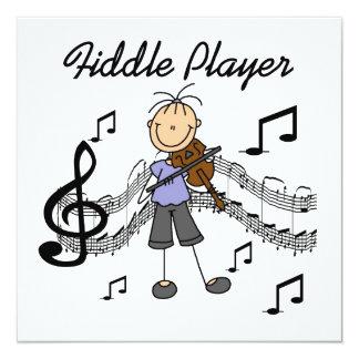 Strichmännchen-Mädchen-Geigen-Spieler-T-Shirts und Individuelle Ankündigungen