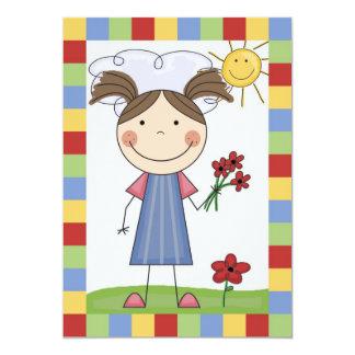 Strichmännchen-Mädchen mit Blumen-Geburtstag laden 12,7 X 17,8 Cm Einladungskarte