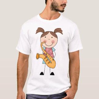 Strichmännchen-Mädchen mit Saxophone T-Shirt