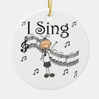 Strichmännchen-Mädchen singe ich T - Shirts und Keramik Ornament